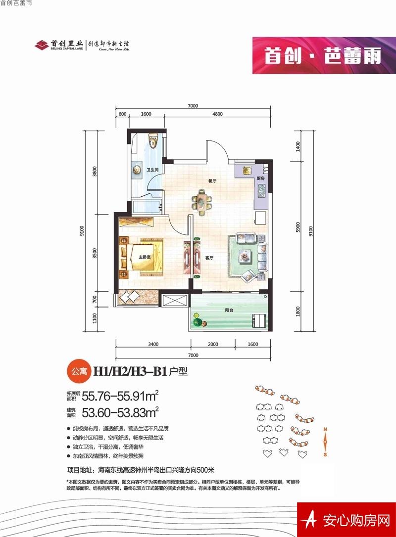 首创芭蕾雨H1/H2/H  1室2厅1卫1厨 53.83
