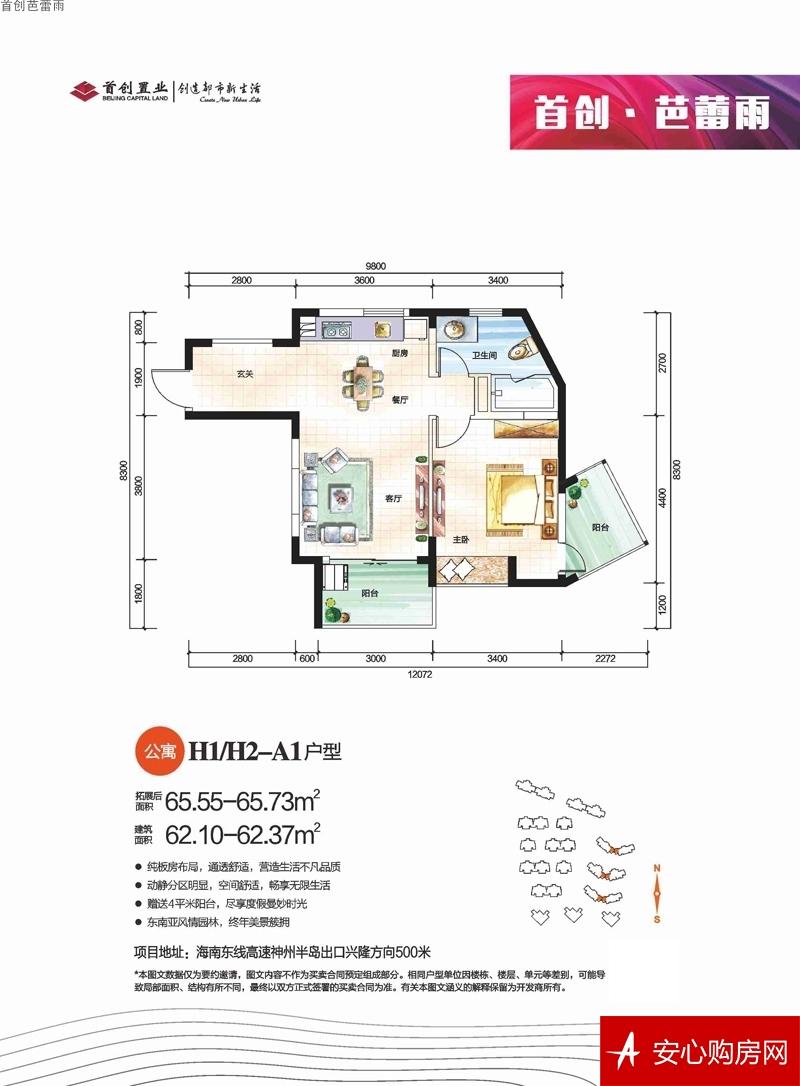 首创芭蕾雨H1/H2-A  1室2厅1卫1厨 62.37