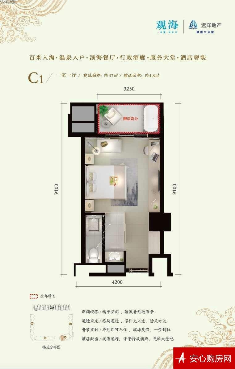 远洋华墅观海C1户型 1室1厅1卫1厨 47