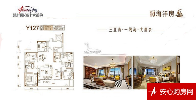 碧桂园海上大都会Y127户型 4房2厅2卫1厨 204